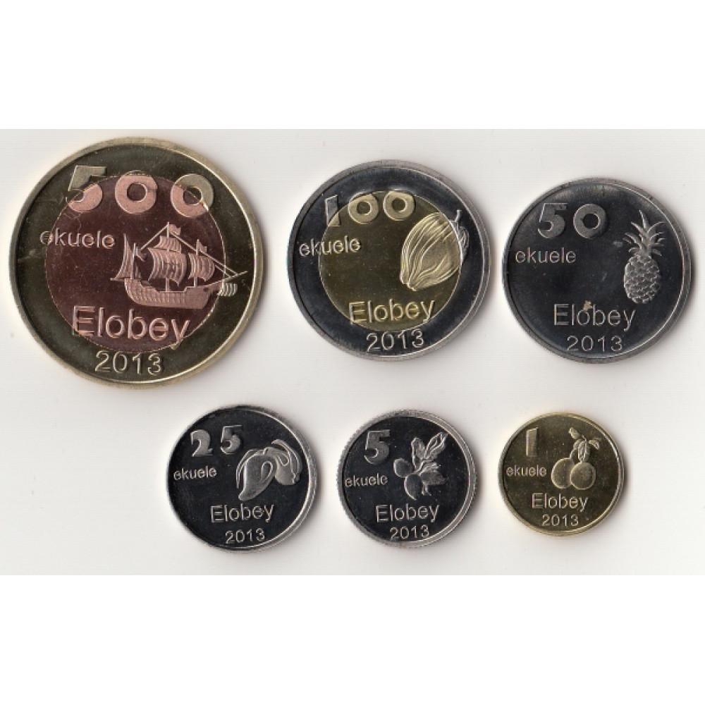 Экваториальная Гвинея, остров Элобей. Набор монет (6 штук) 2013 год