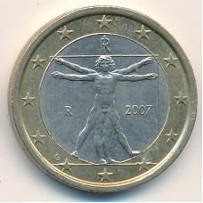 1 евро 2007 года Италия - 1 euro 2007 Italy, из оборота