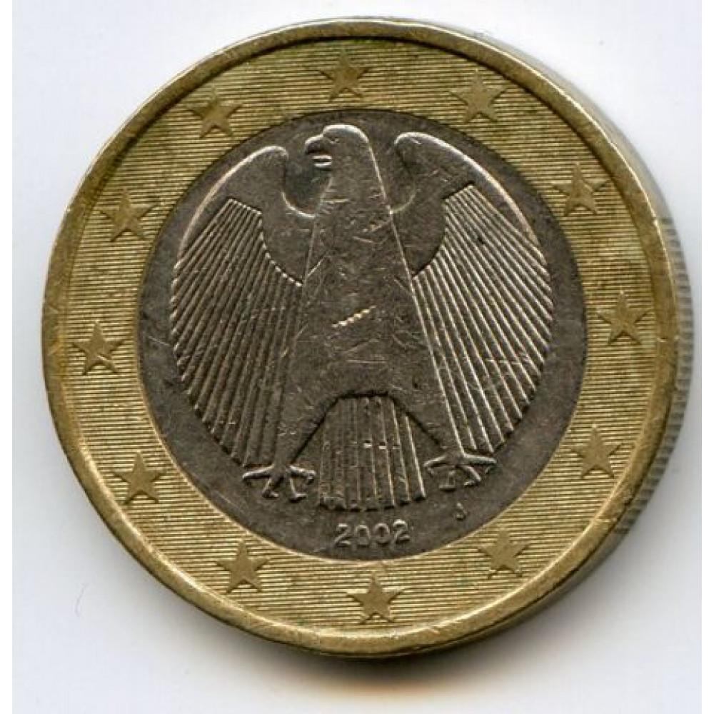 1 евро 2002 года Германия - 1 euro 2002 Germany, J, из оборота