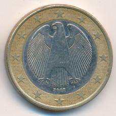 1 евро 2002 года Германия - 1 euro 2002 Germany, A, из оборота