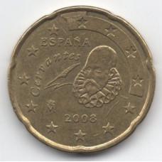 20 евроцентов 2008 Испания - 20 euro cents 2008 Spain, из оборота