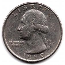 1/4 (квотер) доллара 1990 США - 1/4 (quarter) dollar 1990 USA, P, из оборота