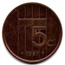 5 центов 1997 Нидерланды -  5 cents 1997 Netherlands, из оборота