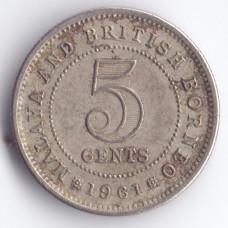 5 центов 1961 Малайя и Британское Борнео - 5 cents 1961 Malaya and British Borneo, из оборота