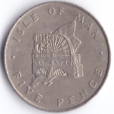 5 пенсов 1976 Остров Мэн - 5 pence 1976 Isle of Man, из оборота