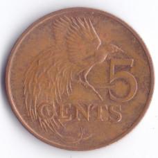 5 центов 1980 Тринидад и Тобаго - 5 cents 1980 Trinidad and Tobago, из оборота
