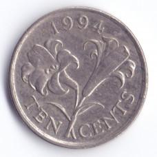10 центов 1994 Бермуды - 10 cents 1994 Bermuda, из оборота