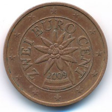 2 евроцента 2009 Австрия - 2 euro cent 2009 Austria, из оборота
