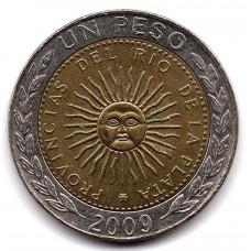 1 песо 2009 Аргентина - 1 peso 2009 Argentina, из оборота