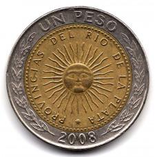 1 песо 2008 Аргентина - 1 peso 2008 Argentina, из оборота