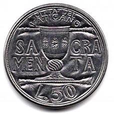 50 лир 1993 Ватикан - 50 lira 1993 Vatican, из оборота