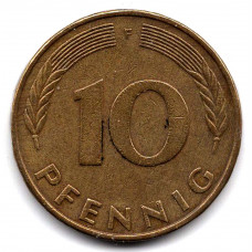 10 пфеннигов 1977 Германия - 10 pfennig 1977 Germany, F, из оборота
