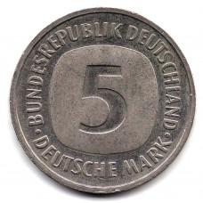 5 марок 1992 Германия- 5 mark 1992 Germany, F, из оборота