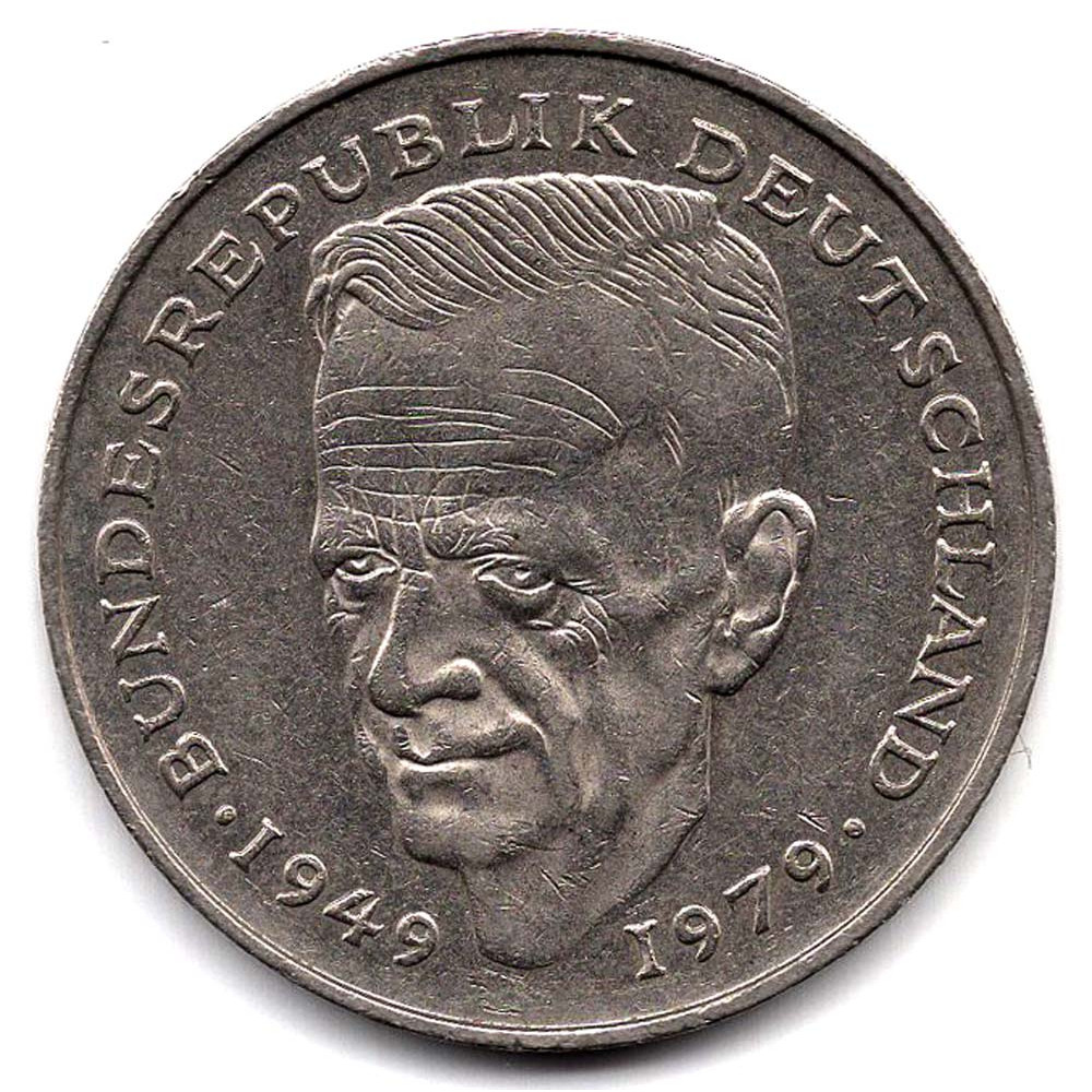 2 марки 1985 Германия - 2 mark 1985 Germany, F, Курт Шумахер, из оборота