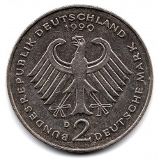 2 марки 1990 Германия - 2 mark 1990 Germany, D, Людвиг Эрхард, из оборота