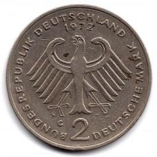 2 марки 1972 Германия - 2 mark 1972 Germany, G, Конрад Аденауэр, из оборота