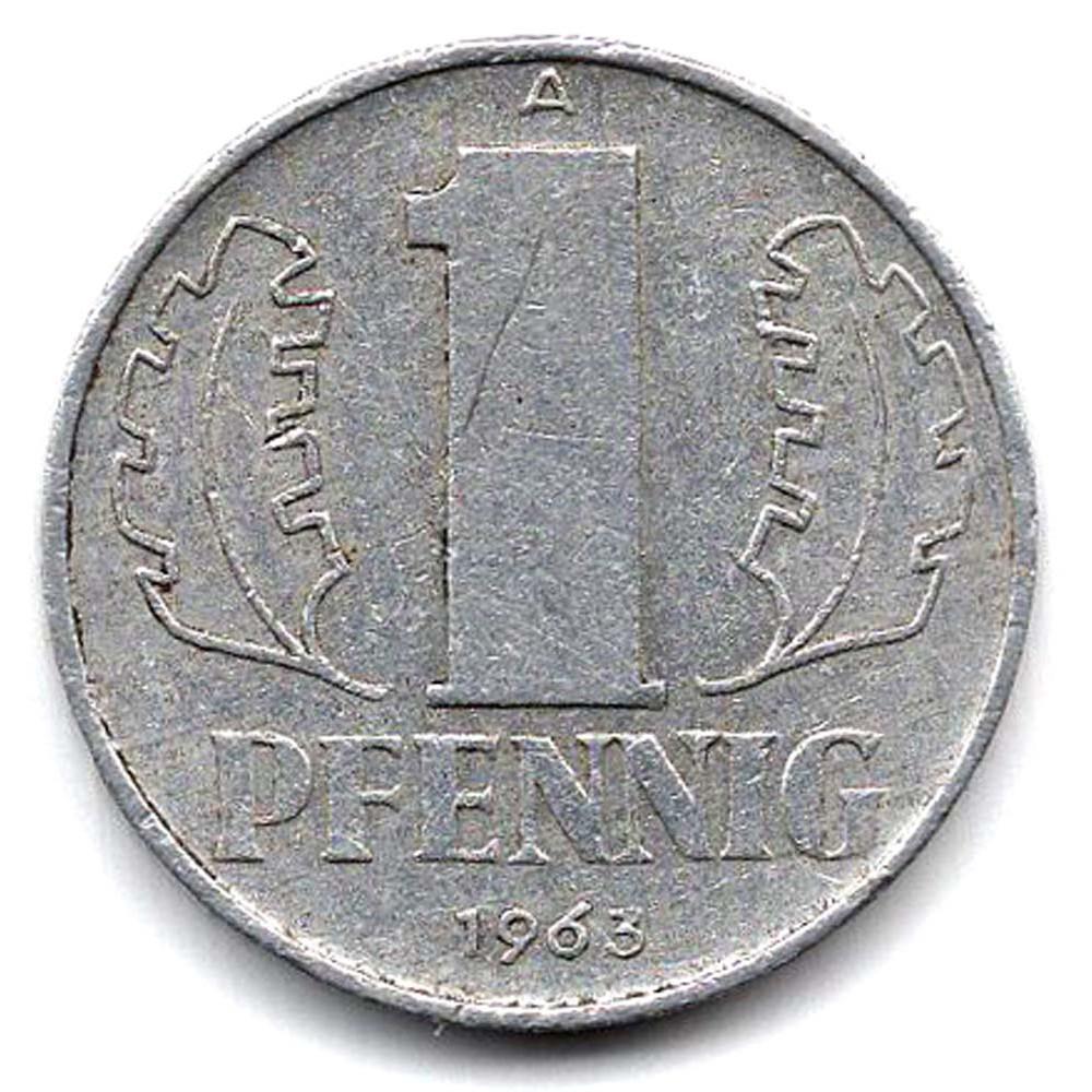 1 пфенниг 1963 Германия (ГДР) - 1 pfennig 1963 Germany, из оборота