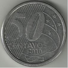 Монета 50 сентаво 2010 Бразилия