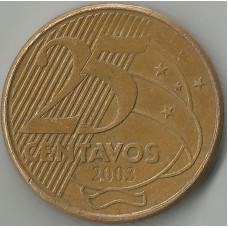Монета 25 сентаво 2003 Бразилия