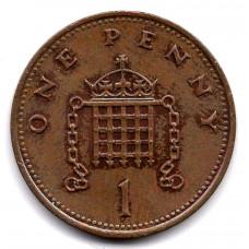1 пенни 1986 Великобритания - 1 penny 1986 Great Britain, из оборота