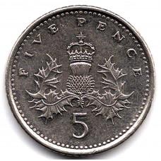 5 пенсов 1994 Великобритания - 5 pence 1994 Great Britain, из оборота