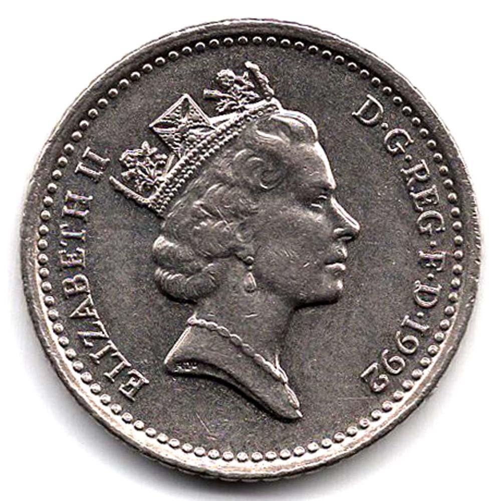 5 пенсов 1992 Великобритания - 5 pence 1992 Great Britain, из оборота