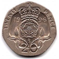 20 пенсов 1996 Великобритания - 20 pence 1996 Great Britain, из оборота
