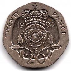20 пенсов 1994 Великобритания - 20 pence 1994 Great Britain, из оборота