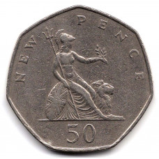 50 новых пенсов 1969 Великобритания - 50 new pence 1969 Great Britain, из оборота