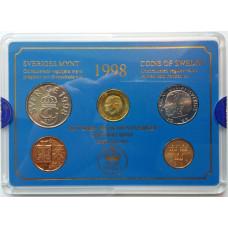 Годовой набор Швеция 1998 (4 монеты + жетон) UNC