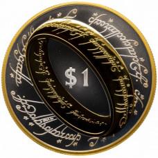 """1 доллар, Новая Зеландия,  2003 год. """"Властелин Колец - Кольцо всевластия"""", Proof"""