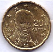 20 евроцентов 2009 года Греция - 20 euro cents 2009 Greece, из оборота