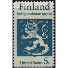 1967, Октябрь. Почтовая марка США. Независимость Финляндии. 5 центов