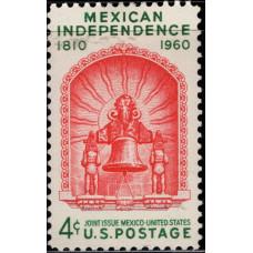 1960, Сентябрь. Почтовая марка США. Независимость Мексики. 4 цента
