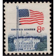 1968 -1971. Почтовая марка США. Флаг над Белым домом. 8 центов