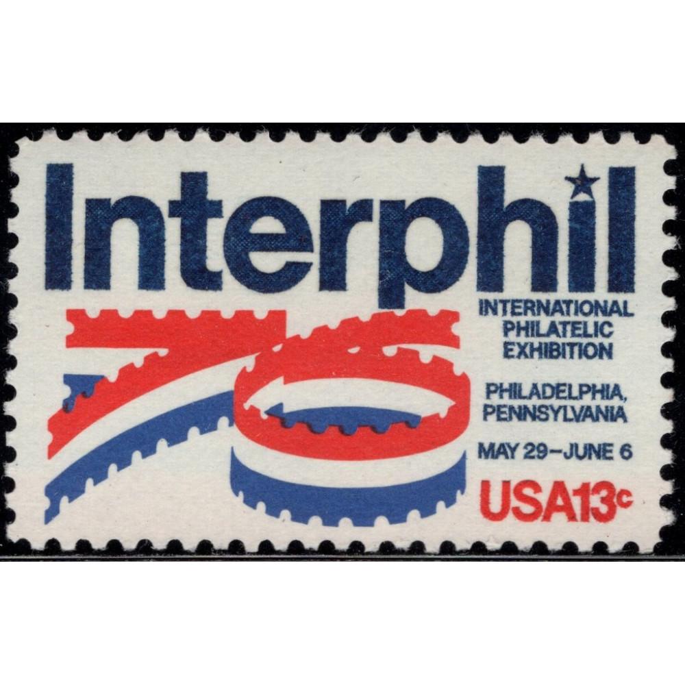 """1976, Январь. Почтовая марка США. Международная Выставка Марок """"Интерфил"""". 13 центов"""