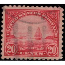 1923, Май. Почтовая марка США. Золотые Ворота. 20 центов