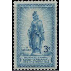 1950, Апрель. Почтовая марка США. 150-летие национальной столицы. 3 цента