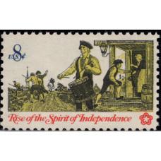 1973, Февраль. Почтовая марка США. Восстание Духа Независимости. 8 центов