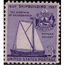 1957, Август. Почтовая марка США. Судостроение. 3 цента