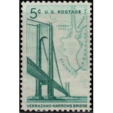 1964, Ноябрь. Почтовая марка США. Мост Верразано-Нарроуз. 5 центов