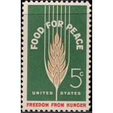 1963, Июнь. Почтовая марка США. Пища для мира-свобода от голода. 5 центов
