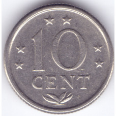 Монета 10 центов 1971 Нидерландские Антильские острова - 10 cent 1971 Netherlands Antilles