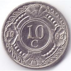 Монета 10 центов 1993 Нидерландские Антильские острова - 10 cent 1993 Netherlands Antilles