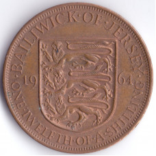 Монета 1/12 шиллинга 1964 Джерси - 1/12 shilling 1964 Bailiwick of Jersey