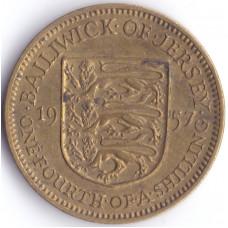 Монета 1/4 шиллинга 1957 Джерси - 1/4 shilling 1957 Bailiwick of Jersey