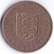 Монета 1/12 шиллинга 1945 Джерси - 1/12 shilling 1945 Bailiwick of Jersey