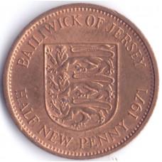 Монета 1/2 пенни 1971 Джерси - 1/2 penny 1971 Bailiwick of Jersey