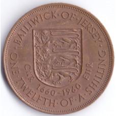 Монета 1/12 шиллинга 1960 Джерси - 1/12 shilling 1960 Bailiwick of Jersey