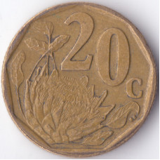 Монета 20 центов 2005 ЮАР - 20 cents 2005 South Africa (Suid)